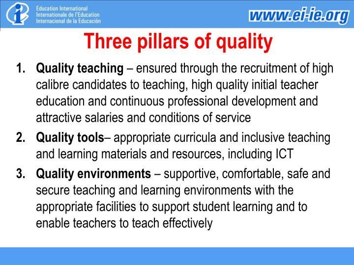 Three pillars of quality