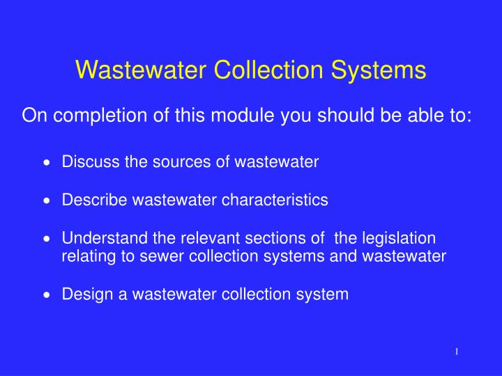wastewater collection systems n.