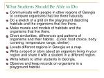 what students should be able to do