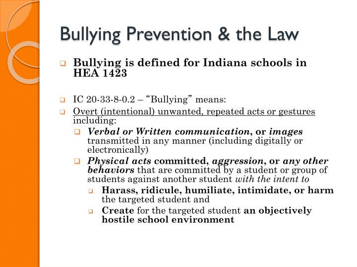Bullying Prevention & the Law