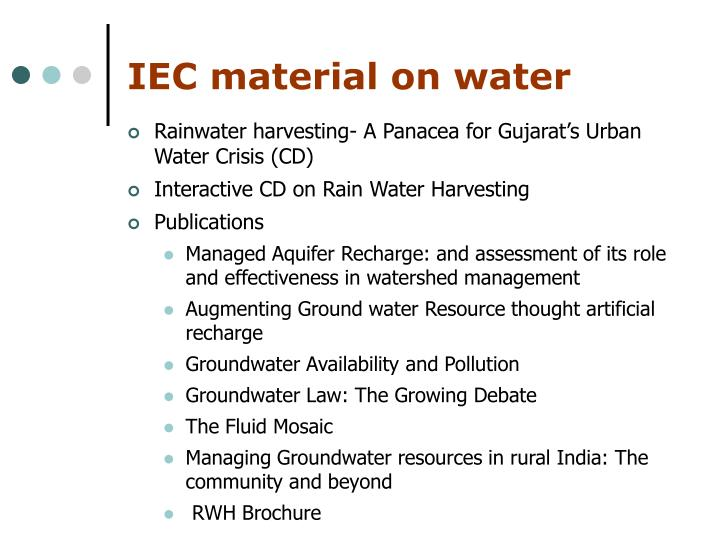 IEC material on water
