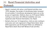 ii rural financial activities and outreach