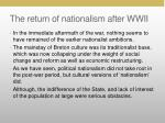 the return of nationalism after wwii