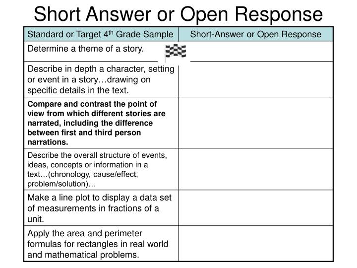 Short Answer or Open Response
