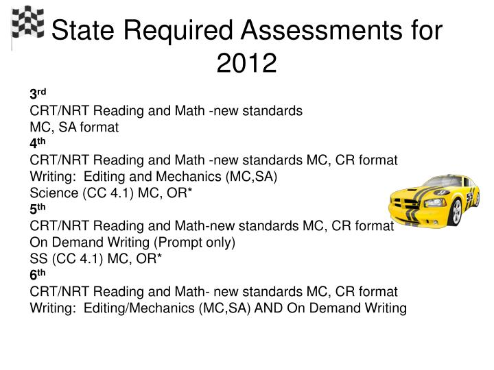 State Required Assessments for 2012