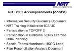 nrt 2003 accomplishments cont d1