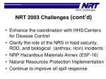 nrt 2003 challenges cont d