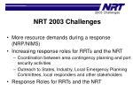 nrt 2003 challenges