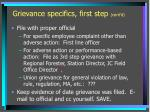 grievance specifics first step cont d1