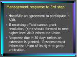 management response to 3rd step