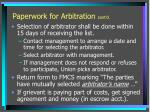 paperwork for arbitration cont d