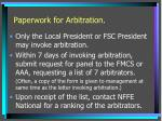 paperwork for arbitration