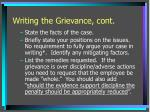 writing the grievance cont