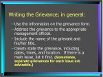 writing the grievance in general