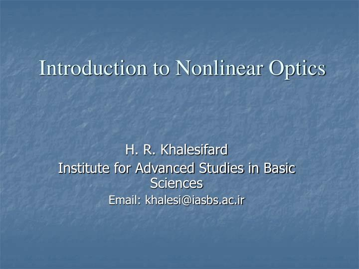 introduction to nonlinear optics n.