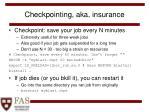 checkpointing aka insurance