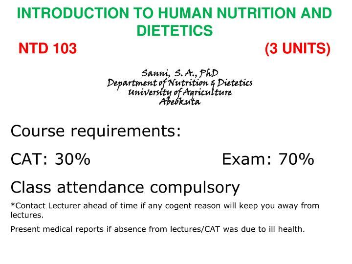 introduction to human nutrition and dietetics ntd 103 3 units n.