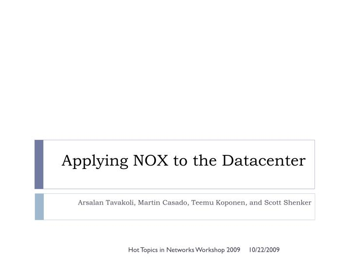 applying nox to the datacenter n.