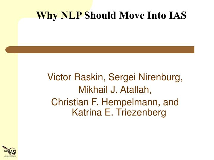 why nlp should move into ias n.