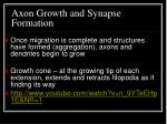 axon growth and synapse formation