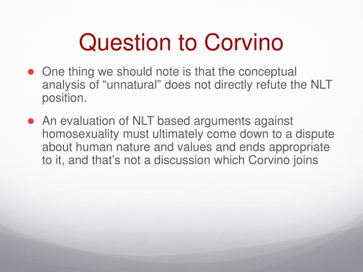 Question to Corvino