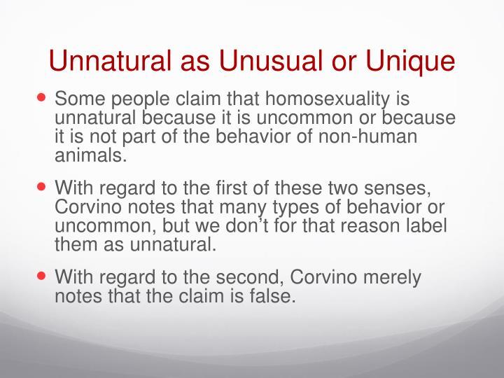 Unnatural as Unusual or Unique