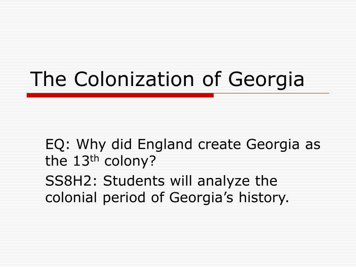 the colonization of georgia n.