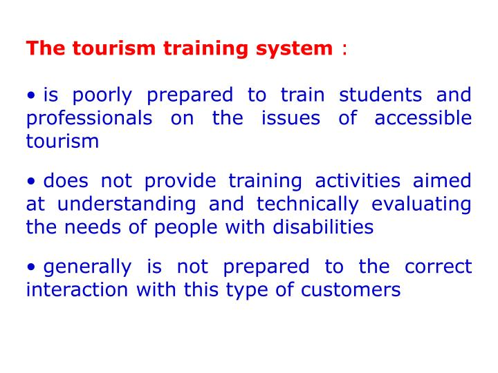 The tourism training system