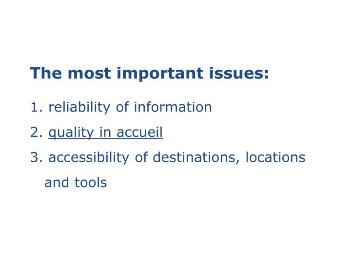 The most important issues: