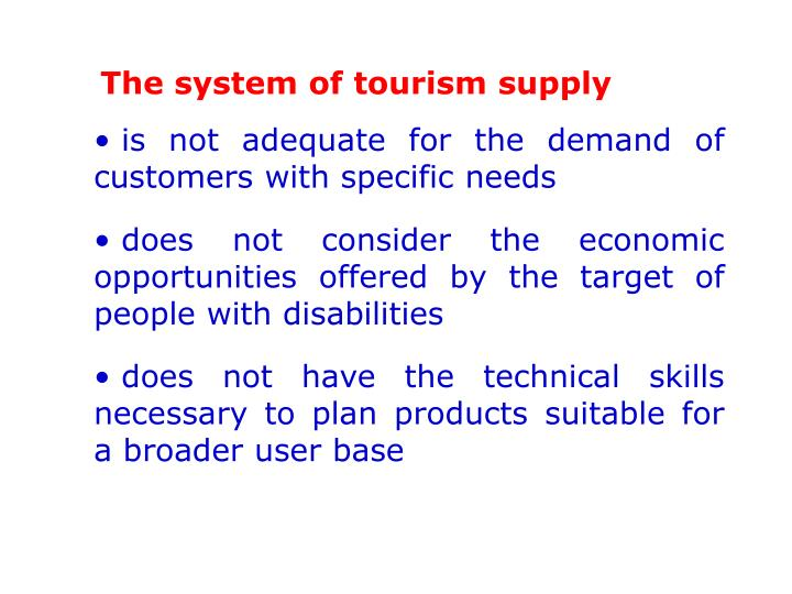 The system of tourism supply