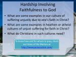 hardship involving faithfulness to god1