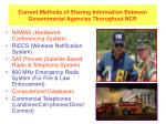 current methods of sharing information between governmental agencies throughout ncr