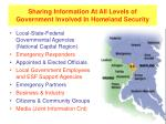 sharing information at all levels of government involved in homeland security