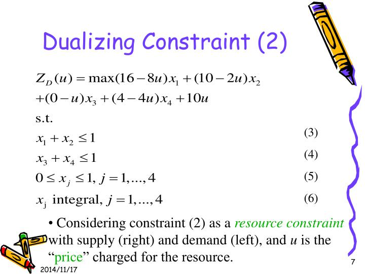 Dualizing Constraint (2)