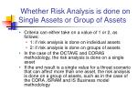 whether risk analysis is done on single assets or group of assets