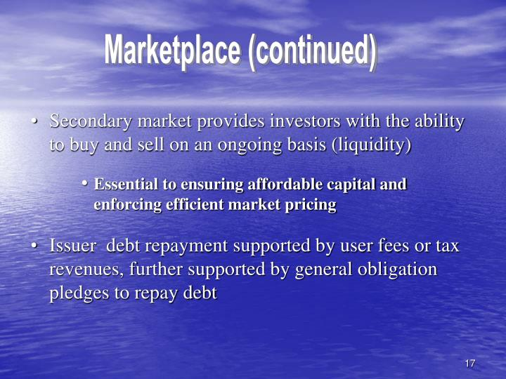 Marketplace (continued)