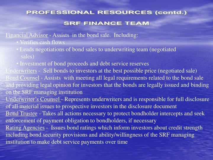 PROFESSIONAL RESOURCES (contd.)