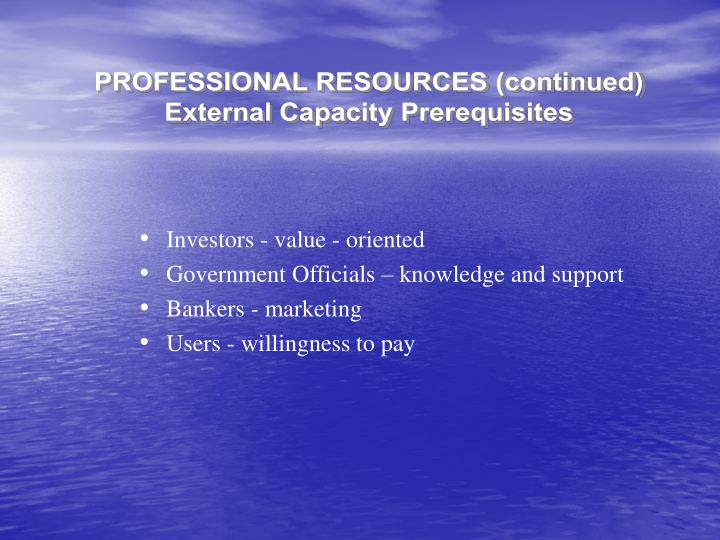 PROFESSIONAL RESOURCES (continued)