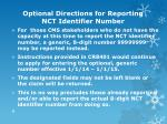 optional directions for reporting nct identifier number