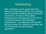 hydrotesting
