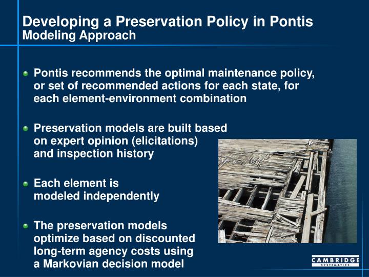 Developing a Preservation Policy in Pontis