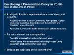 developing a preservation policy in pontis use of elements in pontis