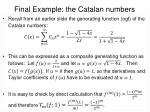 final example the catalan numbers