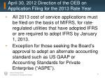 april 30 2012 direction of the oeb on application filing for the 2013 rate year