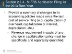 section 2 3 4 mifrs application filing for the 2013 rate year1