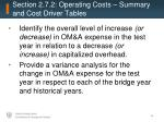 section 2 7 2 operating costs summary and cost driver tables