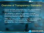 overview of transparency standards