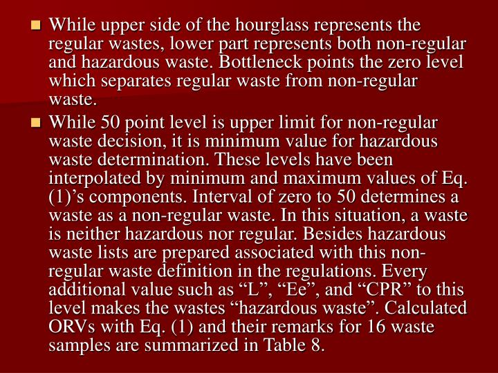 While upper side of the hourglass represents the regular wastes, lower part represents both non-regular and hazardous waste. Bottleneck points the zero level which separates regular waste from non-regular waste.