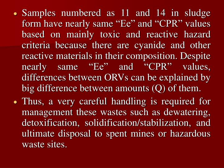 """Samples numbered as 11 and 14 in sludge form have nearly same """"Ee"""" and """"CPR"""" values based on mainly toxic and reactive hazard criteria because there are cyanide and other reactive materials in their composition. Despite nearly same """"Ee"""" and """"CPR"""" values, differences between ORVs can be explained by big difference between amounts (Q) of them."""