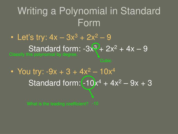 Writing a Polynomial in Standard Form